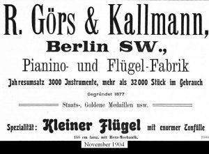 Görs, Anzeige 1904