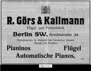 Görs, Anzeige 1911