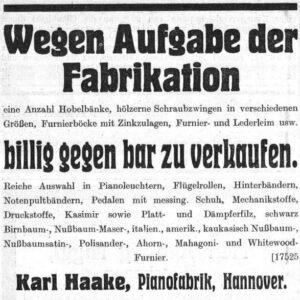 Haake 1915 Verkauf