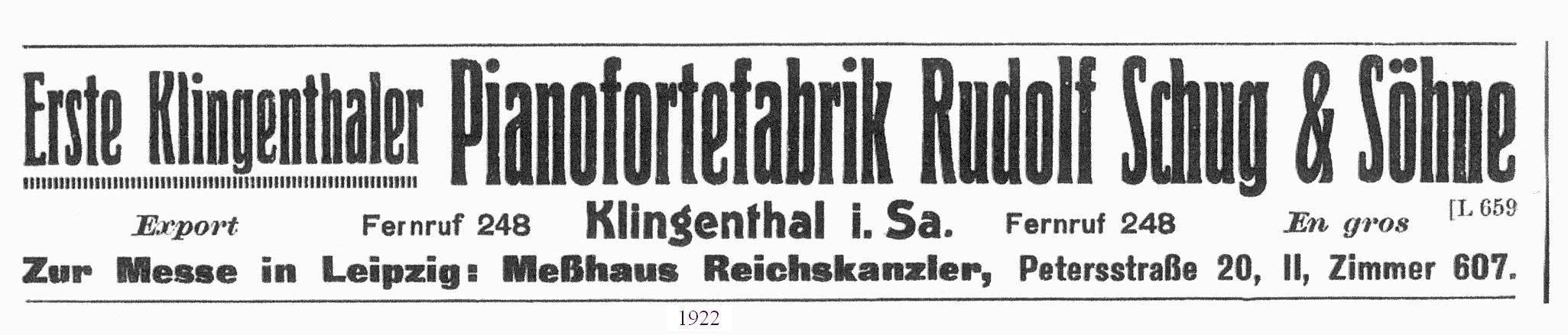 Fa. Schug Anzeige von 1922