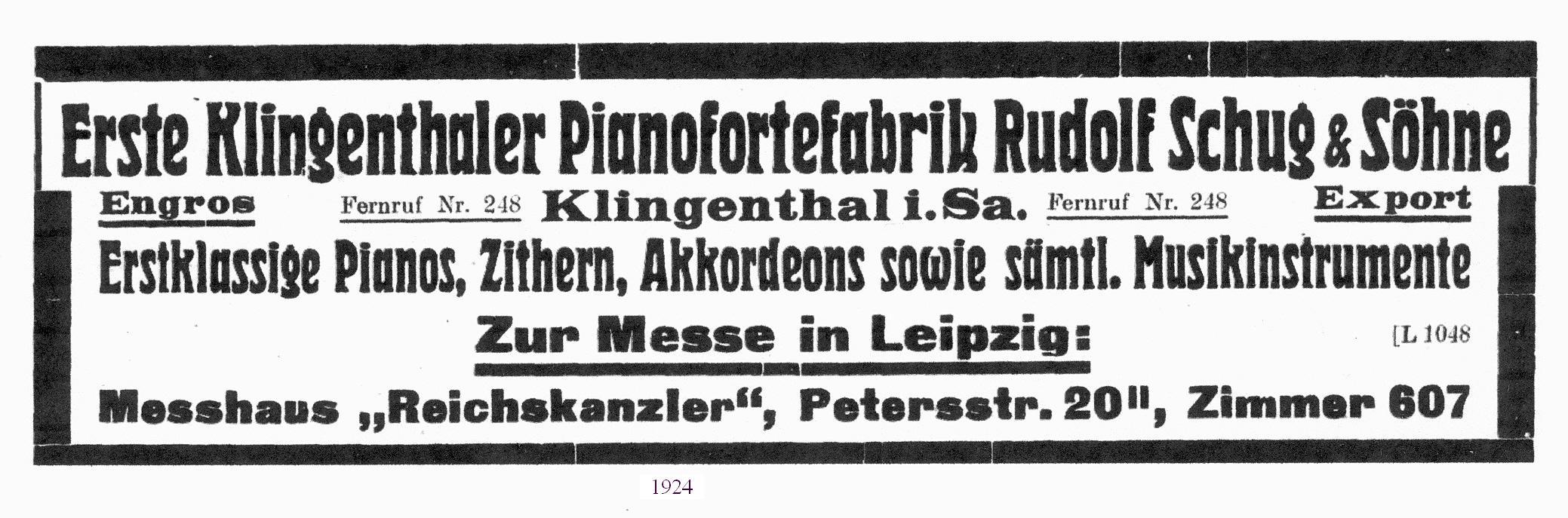 Fa. Schug Anzeige von 1924