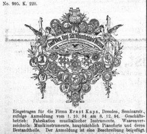 Kaps Anzeige 1895