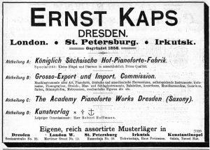 Kaps Anzeige 1899