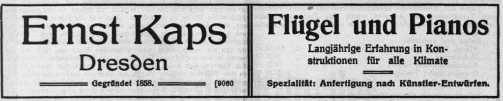 Kaps Anzeige 1912