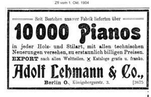 Lehmann Anzeige 1904