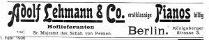 Lehmann Anzeige 1906