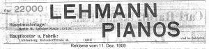 Lehmann Anzeige 1909